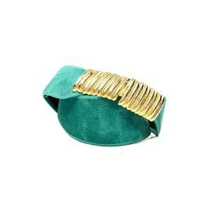 Vintage 1980's Teal Suede Gold Buckle Cinch Belt